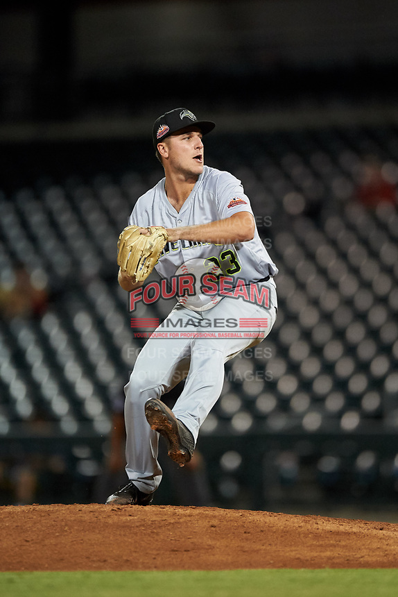 Peoria Javelinas relief pitcher Reiss Knehr (23), of the San Diego Padres organization, during an Arizona Fall League game against the Mesa Solar Sox on September 21, 2019 at Sloan Park in Mesa, Arizona. Mesa defeated Peoria 4-1. (Zachary Lucy/Four Seam Images)
