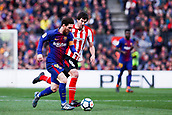 18th March 2018, Camp Nou, Barcelona, Spain; La Liga football, Barcelona versus Athletic Bilbao; Leo Messi of FC Barcelona breaks away from San Jose of Athletic Bilbao towards goal