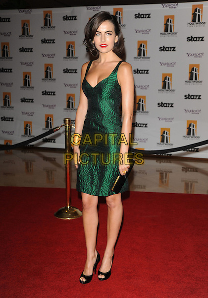 CAMILLA BELLE .The Hollywood Film Festival's Gala Ceremony held at Beverly Hilton Hotel in Beverly Hills, California,  USA..October 27th, 2008     .full length green silk satin dress black open toe shoes clutch bag .CAP/DVS.©Debbie VanStory/Capital Pictures.