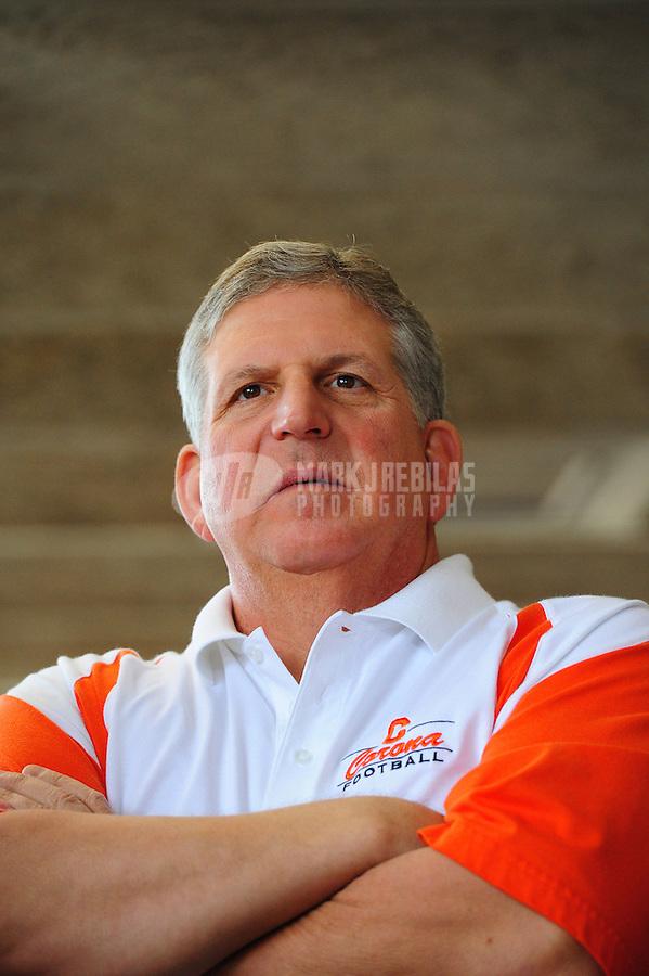 Feb. 1, 2012; Tempe AZ, USA; Corona del Sol Aztecs head coach Tom Joseph at a press conference at Corona del Sol High School. Mandatory Credit: Mark J. Rebilas-