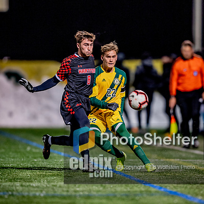 13 November 2019: University of Hartford Hawk Midfielder Sergi Martinez, a Sophomore from Barcelona, Spain, battles University of Vermont Catamount Defender Ívar Örn Árnason, a Senior from Akureyri, Iceland, at Virtue Field in Burlington, Vermont. The Hawks defeated the Catamounts 3-2 in sudden death overtime of the Division 1 Men's Soccer America East matchup. Mandatory Credit: Ed Wolfstein Photo *** RAW (NEF) Image File Available ***