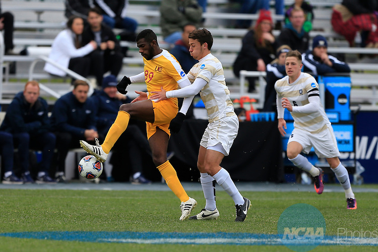 KANSAS CITY, MO - DECEMBER 03:  David Fairgrieve (16) of Wingate University defends Felipe Antonio (89) of the University of Charleston during the Division II Men's Soccer Championship held at Children's Mercy Victory Field at Swope Soccer Village on December 03, 2016 in Kansas City, Missouri. Wingate beat Charleston 2-0 to win the National Championship. (Photo by Jack Dempsey/NCAA Photos via Getty Images)