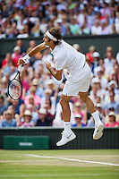 July 6, 2014, UK, London, Tennis, Wimbledon, AELTC, Men's Singles Final:  Novak Djokovic (SRB) vs Roger Federer (SUI), Pictured: Roger Federer in action<br /> Photo: Tennisimages/Henk Koster