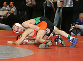 Stephen Bonanno and Jehad Ali wrestle at the 119 weight class during the NY State Wrestling Championships at Blue Cross Arena on March 8, 2008 in Rochester, New York.  (Copyright Mike Janes Photography)