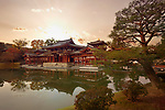 Beautiful dramatic sunset autumn scenery of the Amida hall of Byodo-in temple on the pond of Jodo-shiki Pure Land garden. Uji, Kyoto Prefecture, Japan 2017