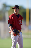 Shane Sasaki during the WWBA World Championship at the Roger Dean Complex on October 20, 2018 in Jupiter, Florida.  Shane Sasaki is an outfielder from Mililani, Hawaii who attends Iolani School and is committed to Cal Poly.  (Mike Janes/Four Seam Images)