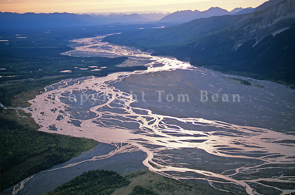 Braided stream channels of the Nizina River in Wrangell Mountains in Wrangell-Saint Elias National Park and Preserve near McCarthy, Alaska, TomBean_Pix_0748.