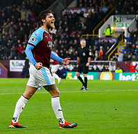Burnley's Jeff Hendrick celebrates after his shot was deflected in<br /> <br /> Photographer Alex Dodd/CameraSport<br /> <br /> The Premier League - Burnley v Fulham - Saturday 12th January 2019 - Turf Moor - Burnley<br /> <br /> World Copyright © 2019 CameraSport. All rights reserved. 43 Linden Ave. Countesthorpe. Leicester. England. LE8 5PG - Tel: +44 (0) 116 277 4147 - admin@camerasport.com - www.camerasport.com