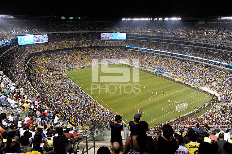 An overall shot of the New Meadowlands Stadium. The men's national team of Brazil (BRA) defeated the United States (USA) 2-0 during an international friendly at the New Meadowlands Stadium in East Rutherford, NJ, on August 10, 2010.