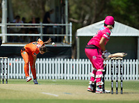 24th November 2019; Lilac Hill Park, Perth, Western Australia, Australia; Womens Big Bash League Cricket, Perth Scorchers versus Sydney Sixers; Taneale Peschel of the Perth Scorchers bowls to Erin Burns of the Sydney Sixers - Editorial Use