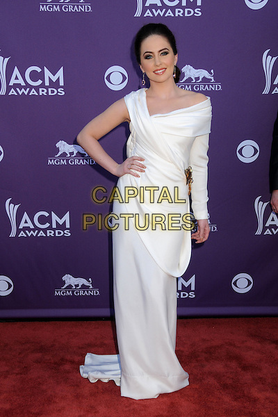 Hannah Blaylock, Edens Edge.47th Annual Academy of Country Music Awards held at the MGM Grand, Las Vegas, Nevada, USA..April 1st, 2012.full length white dress one sleeve hand on hip CMA ACM.CAP/ADM/BP.©Byron Purvis/AdMedia/Capital Pictures.