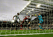 1st October 2017, St James Park, Newcastle upon Tyne, England; EPL Premier League football, Newcastle United versus Liverpool; Jonjo Shelvey of Newcastle United bravely heads the ball clear from Joel Matip of Liverpool to keep the score at 1-1