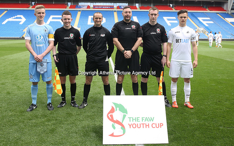 Match officials with team captains during the FAW Youth Cup match between Swansea City and Cambrian and Clydach at The Cardiff City Stadium, Cardiff, Wales, UK. Sunday 23 April 2017