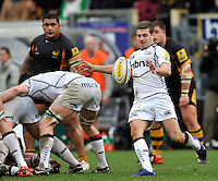 High Wycombe, England. Will Cliff of Sale Sharks clears the ball during the Aviva Premiership match between London Wasps and Sale Sharks at Adams Park on December 23. 2012 in High Wycombe, England.