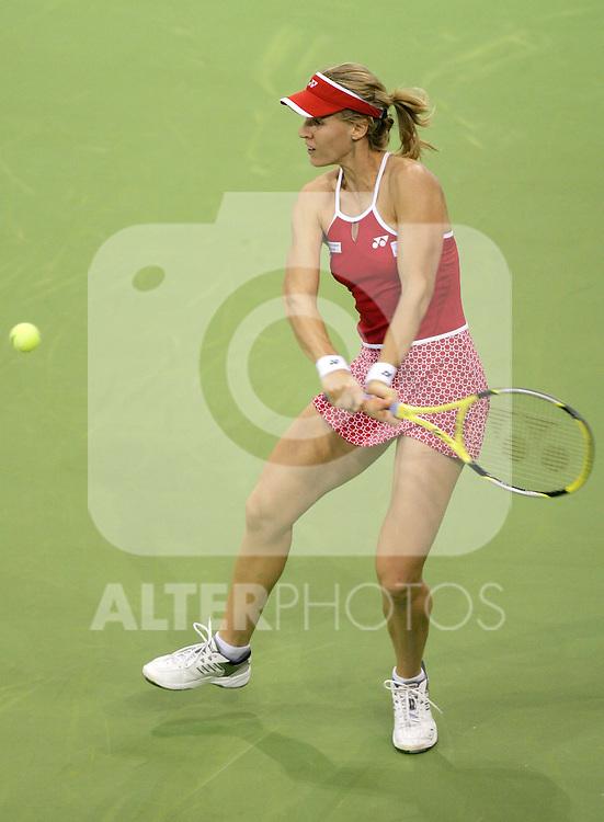 Russia's Elena Dementieva during his WTA Madrid Masters Series Tennis match against Russia's Maria Sharapova at Madrid Arena, Wednesday 07 November, 2006. (ALTERPHOTOS/Alvaro Hernandez).