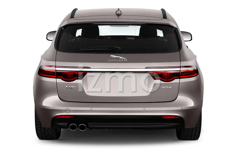 Straight rear view of a 2018 Jaguar XF Sportbrake R Sport 5 Door Wagon stock images