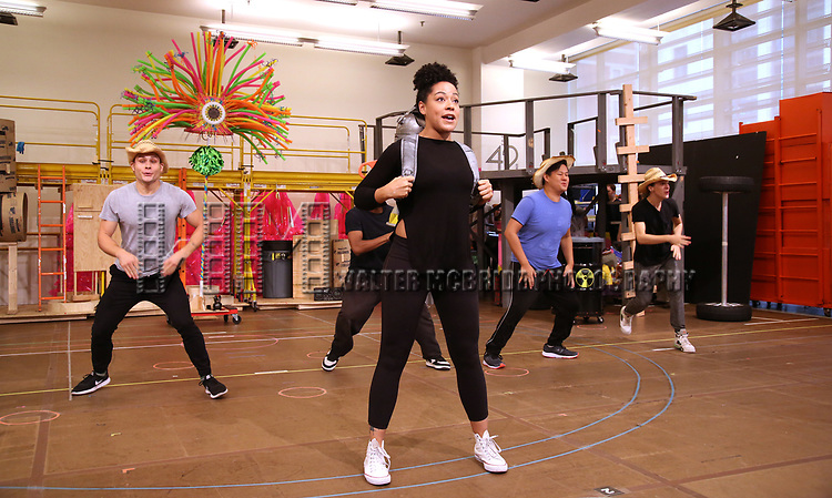 Lilli Cooper and cast during the Rehearsal Press Preview of the New Broadway  Musical on 'SpongeBob SquarePants'  on October 11, 2017 at the Duke 42nd Street Studios in New York City.