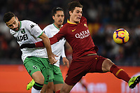 Penalty foul of Gian Marco Ferrari of Sassuolo on Patrik Schick of AS Roma during the Serie A 2018/2019 football match between AS Roma and Sassuolo at stadio Olimpico, Roma, December, 26, 2018 <br />  Foto Andrea Staccioli / Insidefoto