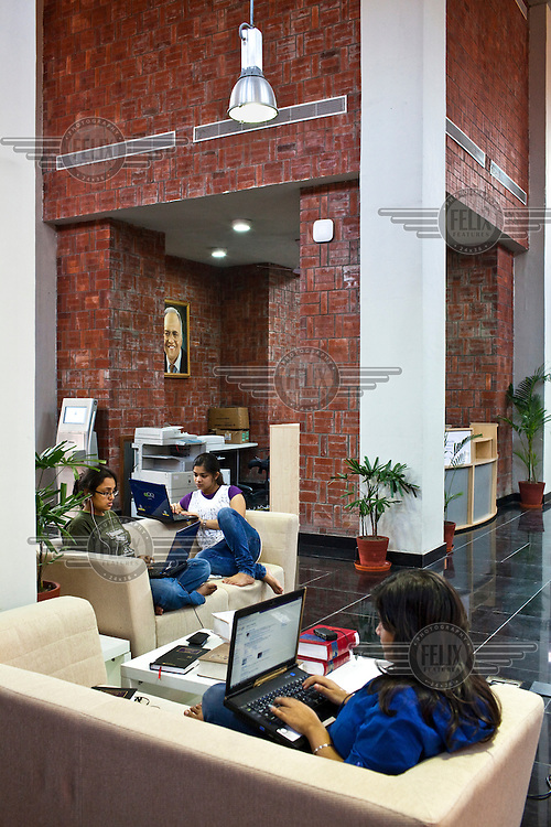 Law students work on their projects in the library at the Jindal Global University in Sonepat.