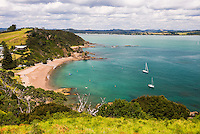 Tapeka Beach seen from Tapeka Point, a popular walk in Russell, Bay of Islands, Northland Region, North Island, New Zealand