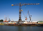 Cranes on quayside Verolme shipyard Port of Rotterdam, Netherlands