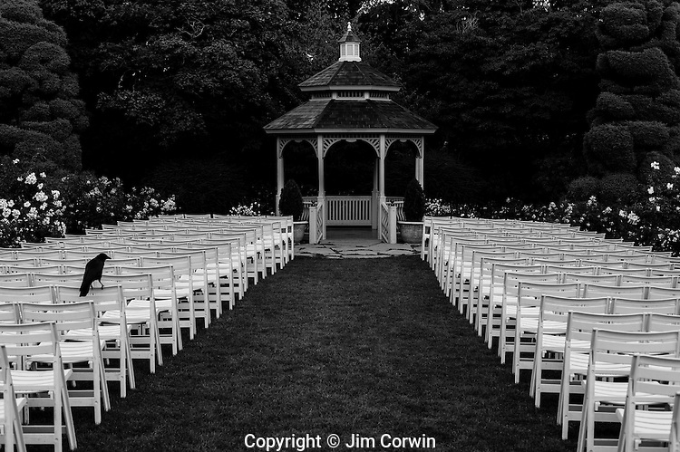 Woodland Park Rose Garden Gazebo with roses and white chairs for wedding with crow