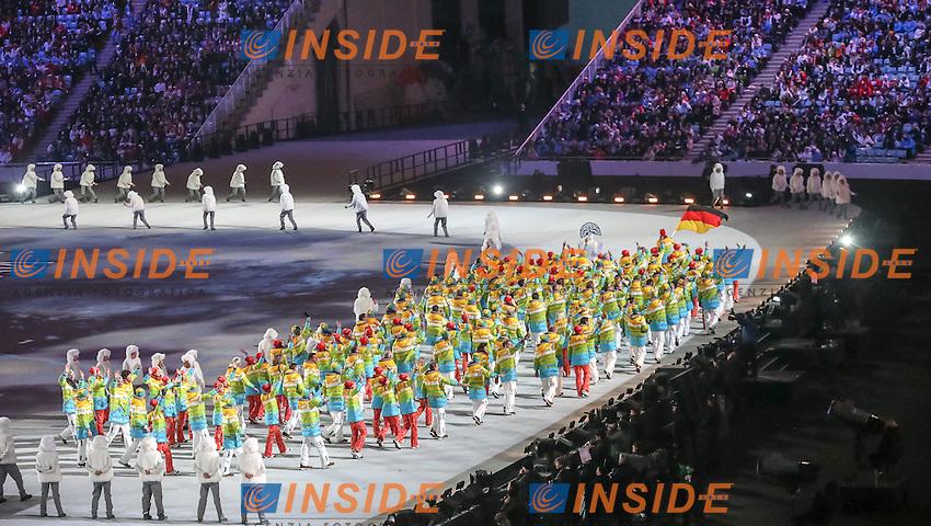 La squadra della Germania con la divisa Arcobaleno <br /> 07.02.2014, Olympiastadion Fischt, Adlerer<br /> Cerimonia Inaugurale Apertura <br /> Sochi 2014 Olimpiadi Invernali. Olympic Winter Games <br /> Foto EXPA/ Insidefoto