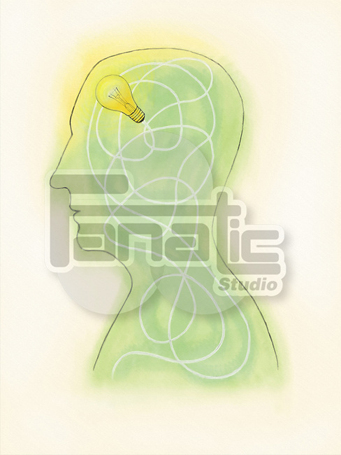 Illustrative image of man with light bulb in head representing idea