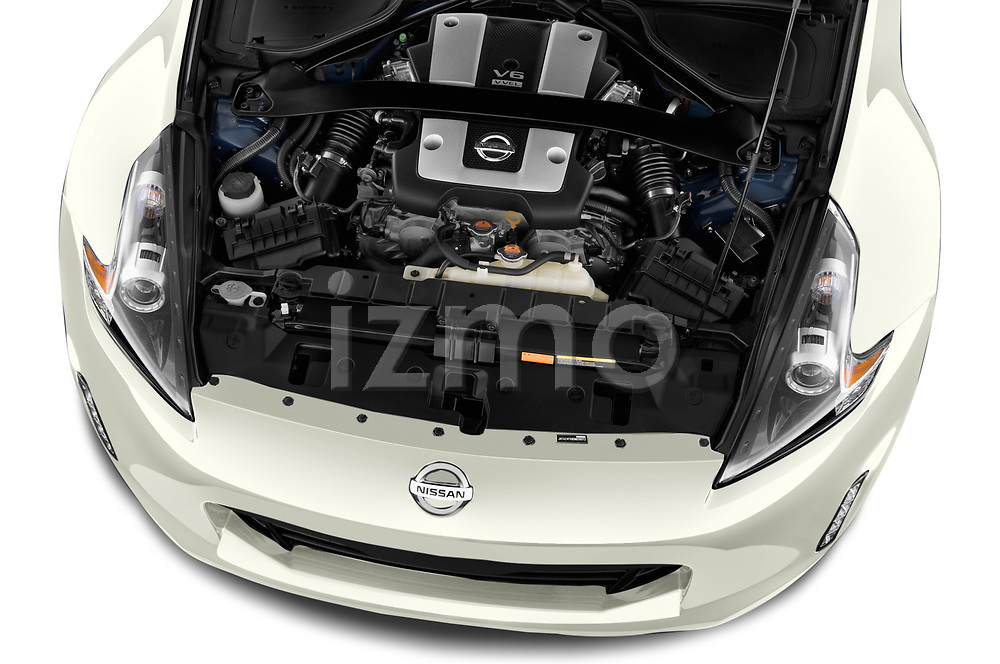 Car stock 2019 Nissan 370Z  Touring  2 Door Convertible engine high angle detail view