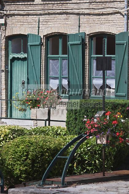 Europe/France/Nord-Pas-de-Calais/59/ Nord/ Bergues: Façade maison flamande rue du Coq