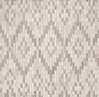 Dhurrie, a hand-cut stone mosaic, shown in tumbled Whitewood and Palomar, is part of the Tissé® collection designed by Paul Schatz for New Ravenna.