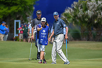 Bubba Watson (USA) and Matt Kuchar (USA) look over Kuchar's putt on 17 during Round 2 of the Zurich Classic of New Orl, TPC Louisiana, Avondale, Louisiana, USA. 4/27/2018.<br /> Picture: Golffile | Ken Murray<br /> <br /> <br /> All photo usage must carry mandatory copyright credit (&copy; Golffile | Ken Murray)