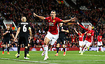 Zlatan Ibrahimovic of Manchester United celebrates after scoring his sides first goal during the UEFA Europa League match at Old Trafford Stadium, Manchester. Picture date: September 29th, 2016. Pic Matt McNulty/Sportimage