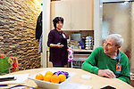 Randi Kaplan and Alan Epstein talk in the caregiver support center at Montefiore Medical Center in the Bronx, New York on Monday, December 5, 2016.