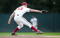 STANFORD, CA - March 27, 2011: Chris Reed of Stanford baseball pitches during Stanford's game against Long Beach State at Sunken Diamond. Stanford won 6-5.
