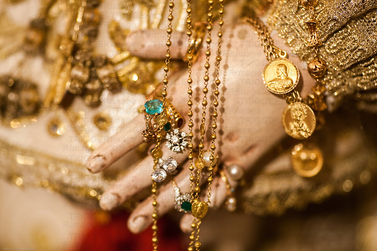 Detail of the jewelry of Our Lady of the Rosary (Virgen del Rosario), an anonymous carving from the 18th century, San Martin church, Carrion de los Cespedes, Seville, Spain