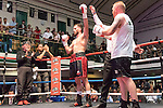 Chris Davies vs Richard Harrison Light Heavyweight contest During Goodwin Boxing: Summer Fight Festival. Photo by: Simon Downing.<br /> <br /> Saturday 16th July 2016 - York Hall, Bethnal Green, London, United Kingdom.