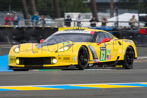15.06.2016. Le Mans Circuit, Le Mans, France. Le Mans 24 Hours Practice and Qualifying. Corvette Racing Chevrolet Corvette C7.R LMGTE Pro driven by Jan Magnussen, Antonio Garcia and Ricky Taylor.