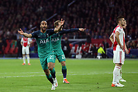 Lucas of Tottenham Hotspur celebrates scoring the second goal during AFC Ajax vs Tottenham Hotspur, UEFA Champions League Football at the Johan Cruyff Arena on 8th May 2019
