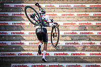 eventual winner Mathieu Van der Poel (NED/Alpecin Fenix) up the stairs<br /> <br /> Men Elite Race<br /> UCI Cyclocross Worldcup – Hoogerheide (Netherlands)<br /> <br /> ©kramon