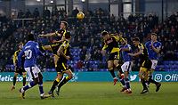 Rotherham United's Jerry Yates (21) heads the ball despite the attentions of Oldham Athletic's Craig Davies (9) during the Sky Bet League 1 match between Oldham Athletic and Rotherham United at Boundary Park, Oldham, England on 13 January 2018. Photo by Juel Miah / PRiME Media Images.