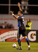 18 April 2009: Pablo Campos of the Earthquakes complains after a bad call during the game against the Galaxy at Oakland-Alameda County Coliseum in Oakland, California.   Earthquakes and Galaxy are tied 1-1.