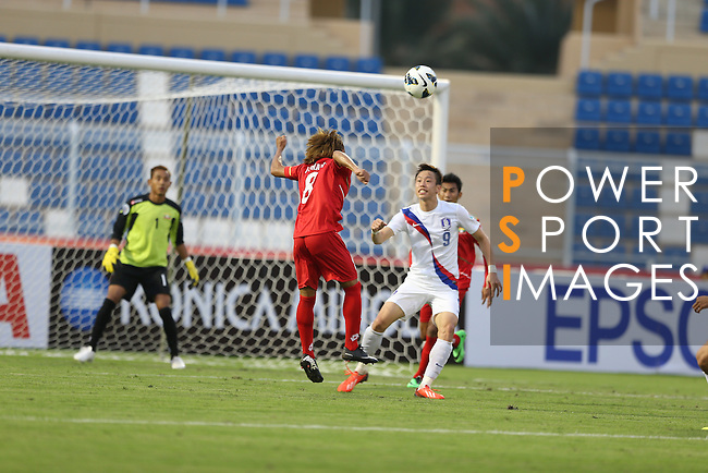 Myanmar vs Korea Republic during the 2014 AFC U-22 Championship Group Stage A match on January 13, 2014 at the Royal Oman Police Stadium in Muscat, Oman. Photo by World Sport Group