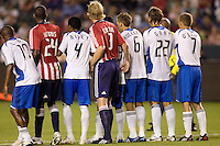 A wall of Chivas USA and Earthquake players during a MLS match. The San Jose Earthquakes and Chivas USA played to 0-0 draw at Home Depot Center stadium on Saturday, August 23, 2008.