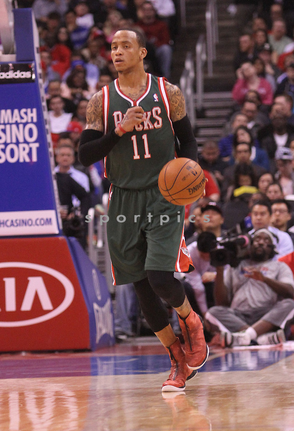 Milwaukee Bucks Monta Ellis (11) during a game against the Clippers on March 6, 2013 at the Staples Center in Los Angeles, CA. The Clippers beat the Bucks 117-101.
