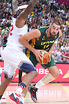 11.09.2014 Barcelona. FIBA Basketball World Cup. Semi-Finals. Picture show J. Valanciunas and D. Cousins in action during game Usa v Lithuania at Palau St. Jordi