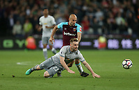 West Ham United's Pablo Zabaleta and Manchester United's Luke Shaw<br /> <br /> Photographer Rob Newell/CameraSport<br /> <br /> The Premier League - West Ham United v Manchester United - Thursday 10th May 2018 - London Stadium - London<br /> <br /> World Copyright &copy; 2018 CameraSport. All rights reserved. 43 Linden Ave. Countesthorpe. Leicester. England. LE8 5PG - Tel: +44 (0) 116 277 4147 - admin@camerasport.com - www.camerasport.com