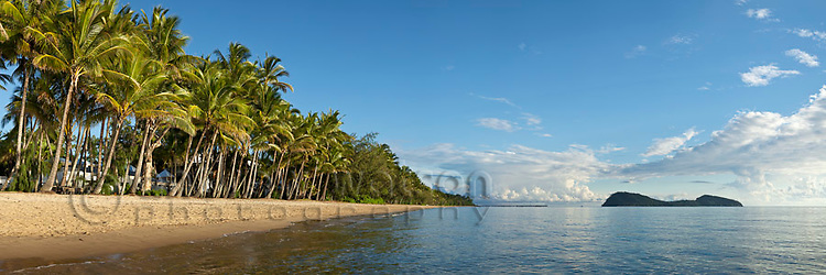 View along Palm Cove beach with Double Island in background.  Palm Cove, Cairns, Queensland, Australia