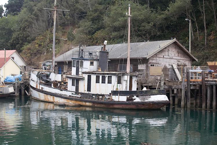 Old boats, Noyo Harbor, Fort Bragg, California