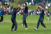 Image courtesy of Cricket Scotland - Citylet's Scottish Cup Final at West of Sctland cricket ground, Glasgow - Arbroath V Clydesdale - Arbroath's Calvin Burnett (centre) celebrates taking a wicket - for further information please contact Ben Fox, Cricket Scotland, on 07825 172 348 - picture by Donald MacLeod - 21.08.16 - 07702 319 738 - clanmacleod@btinternet.com - www.donald-macleod.com